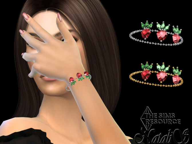 Sims 4 Strawberry pendant chain bracelet by NataliS at TSR