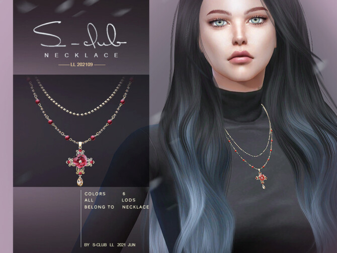 Sims 4 Flower necklace 202109 by S Club LL at TSR