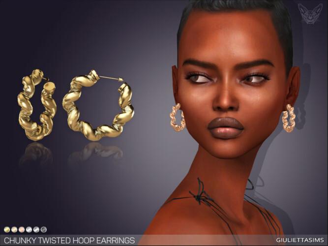 Chunky Twisted Hoop Earrings By Feyona