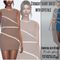 Straight Short Dress With Crystals By Sims House