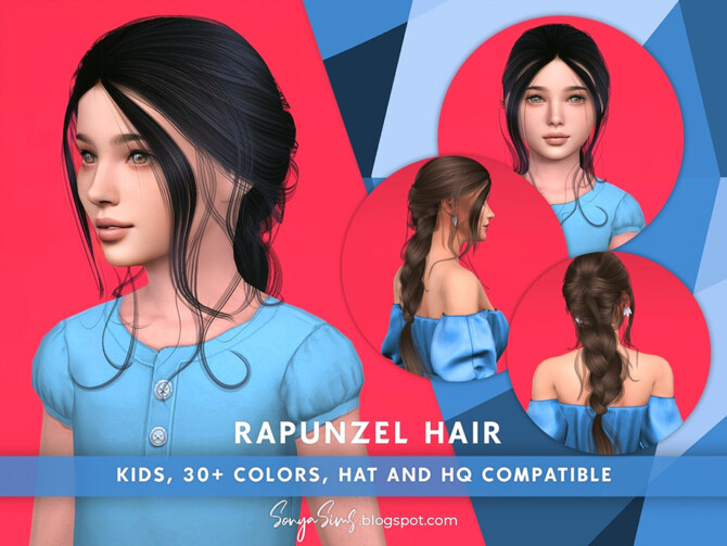 Sims 4 Rapunzel Hair for Kids by SonyaSimsCC at TSR