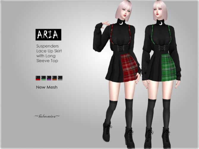 Sims 4 ARIA Suspender Outfit by Helsoseira at TSR