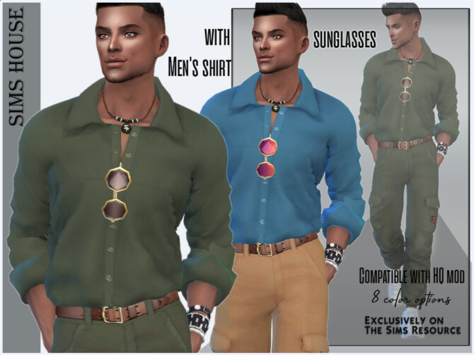 Sims 4 Mens shirt with sunglasses by Sims House at TSR