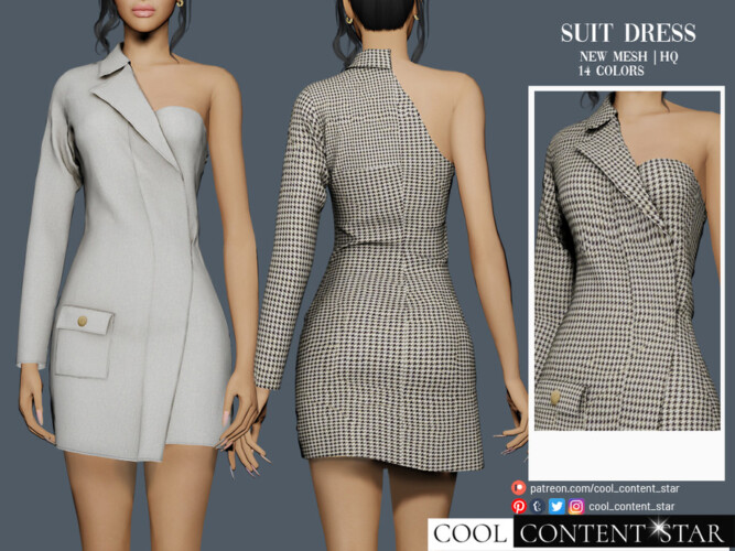 One Shoulder Suit Dress By Sims2fanbg