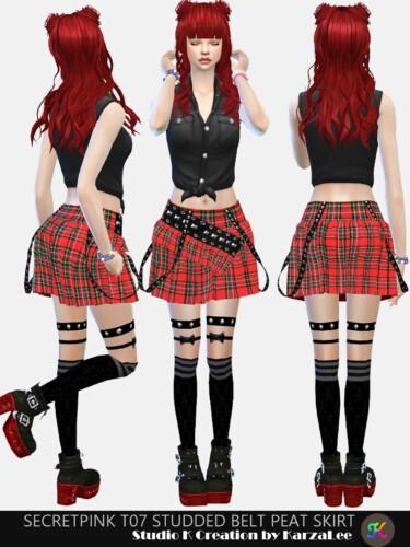 Studded Belt Peat Skirt T07
