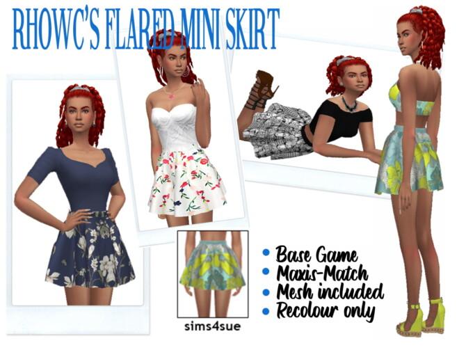 Sims 4 RHOWC'S FLARED MINI SKIRT at Sims4Sue