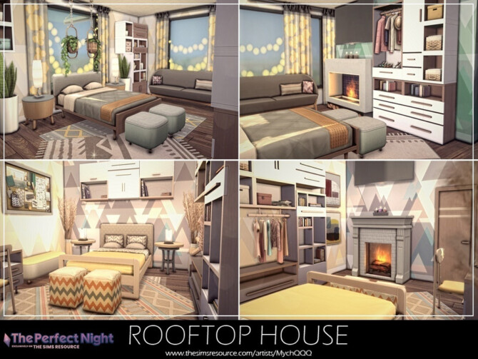 Sims 4 The Perfect Night Rooftop House by MychQQQ at TSR