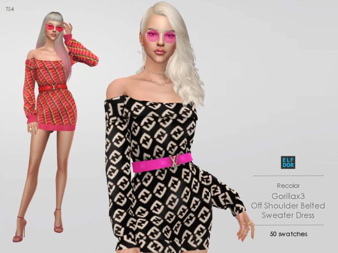 Gorillax3 Off Shoulder Belted Sweater Dress Rc