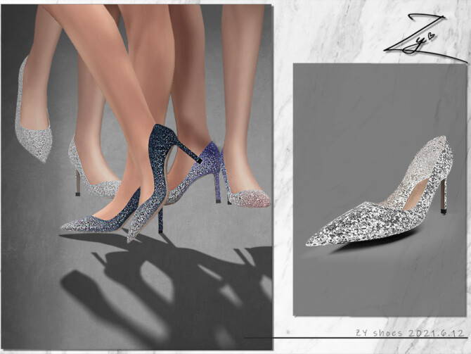 Sims 4 Glittered leather pumps by ZY at TSR