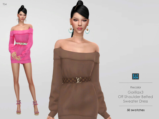 Sims 4 Gorillax3 Off Shoulder Belted Sweater Dress RC at Elfdor Sims