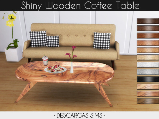 Sims 4 Shiny Wooden Coffee Table at Descargas Sims