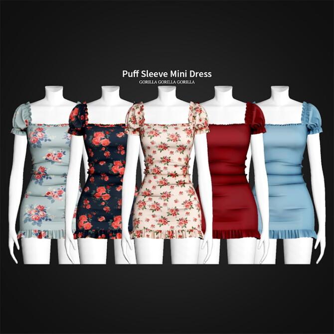 Sims 4 Puff Sleeve Mini Dress at Gorilla