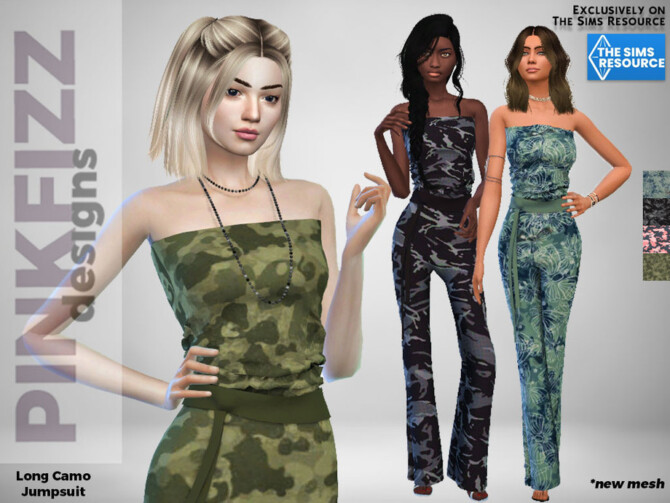Sims 4 Long Camo Jumpsuit by Pinkfizzzzz at TSR
