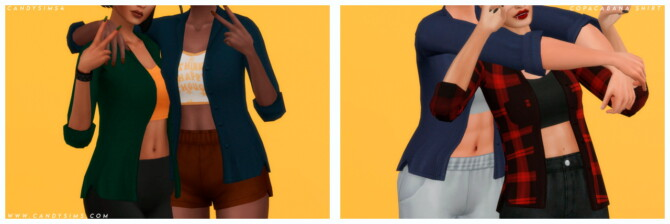 Sims 4 COPACABANA denim shirt with a cropped tank top at Candy Sims 4