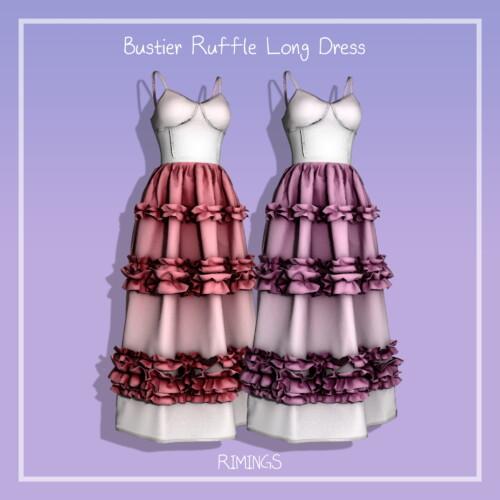 Bustier Ruffle Long Dress