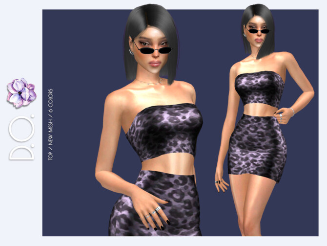 Sims 4 Strapless Leopard Print Crop Top DO117 by D.O.Lilac at TSR