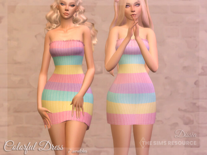 Sims 4 Colorful Dress by Dissia at TSR