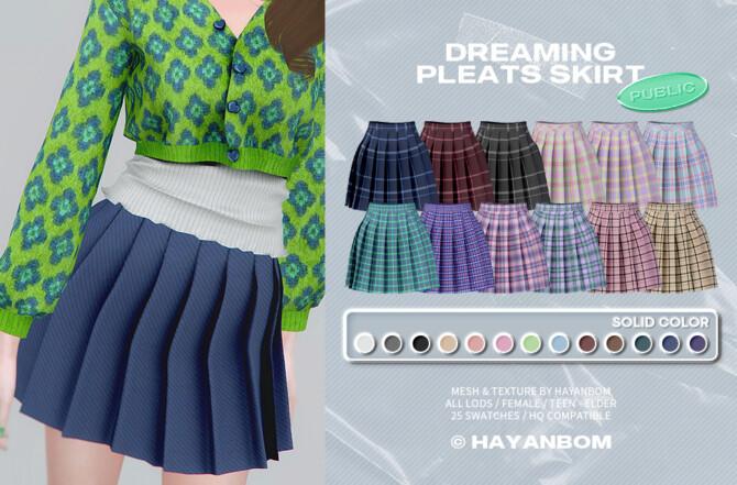 Sims 4 DREAMING PLEATS SKIRT at Hayanbom