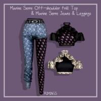 Off-shoulder Frill Top & Jeans & Leggings