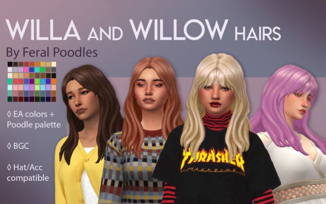 Sims 4 Willa and Willow Hairs at Feral Poodles