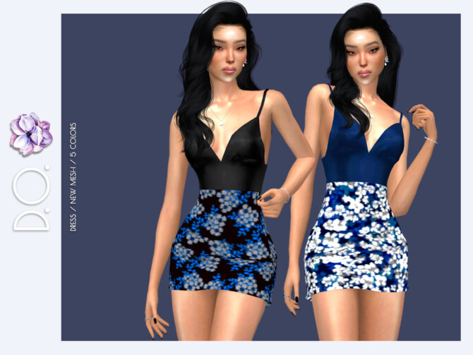Sims 4 Floral Summer Evening Dress DO115 by D.O.Lilac at TSR