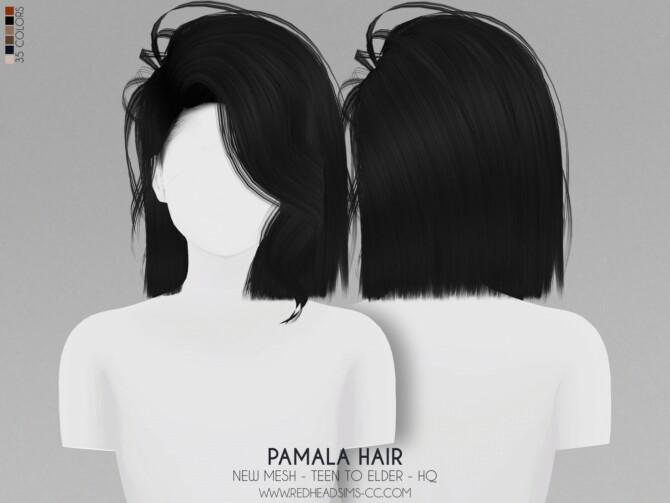 Sims 4 PAMALA HAIR + MAXIS MATCH VERSION at REDHEADSIMS