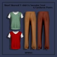 Short Sleeved T-shirt & Sweater Vest & Corduroy Pants