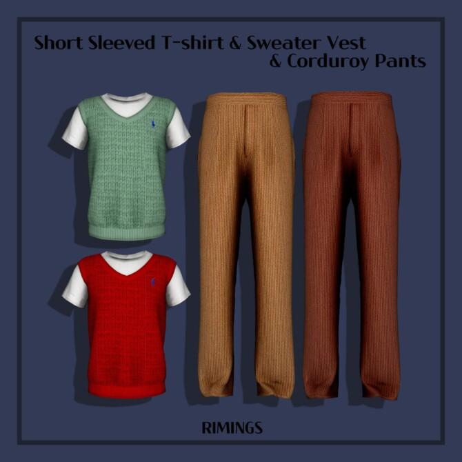 Sims 4 Short Sleeved T shirt & Sweater Vest & Corduroy Pants at RIMINGs