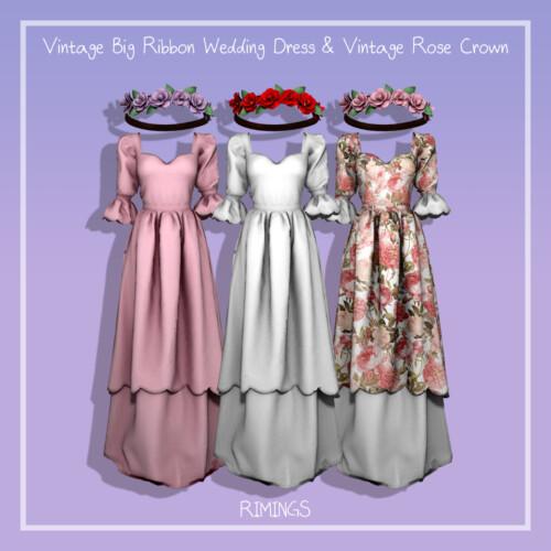 Vintage Big Ribbon Wedding Dress & Rose Crown