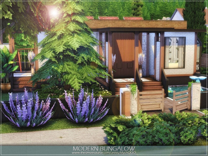 Sims 4 Modern Bungalow by MychQQQ at TSR