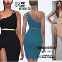 Dress With A Thin Gold Belt By Sims House