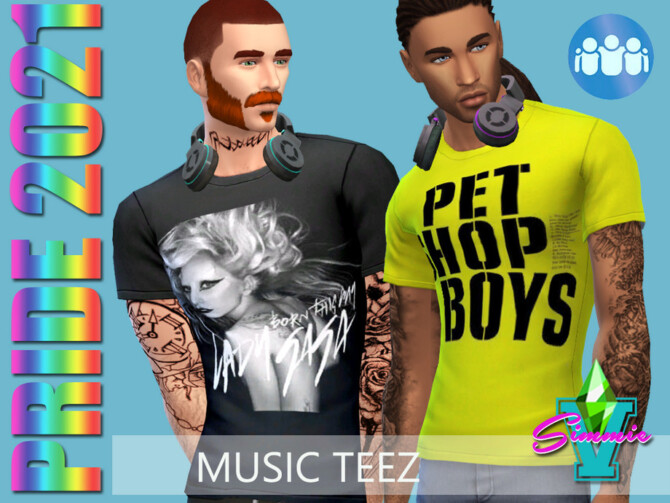Sims 4 Pride21 Music Teez by SimmieV at TSR