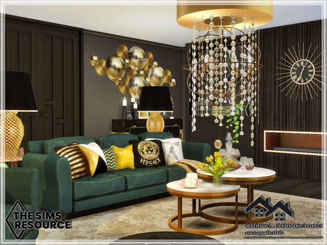 Sims 4 COLINA Living Room by marychabb at TSR