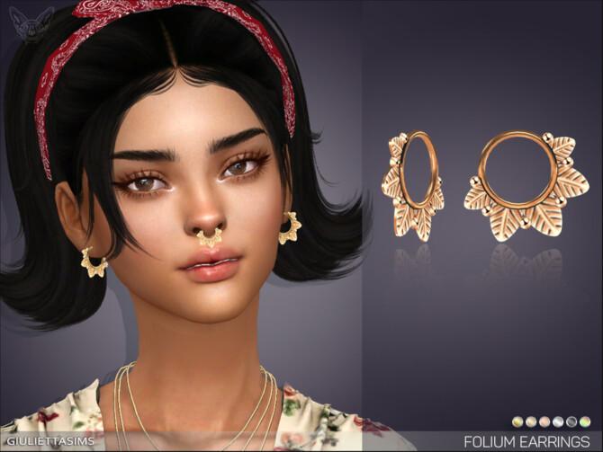 Sims 4 Folium Little Hoop Earrings by feyona at TSR