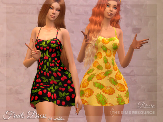 Sims 4 Fruits Dress by Dissia at TSR