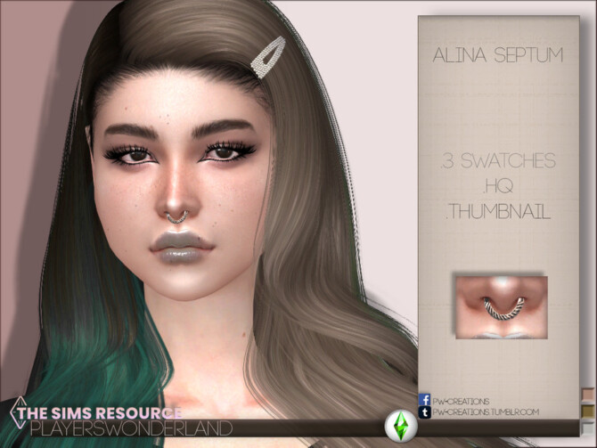 Sims 4 Alina Septum by PlayersWonderland at TSR