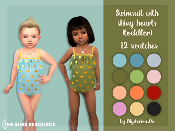 Sims 4 Swimsuit with shiny hearts (toddler) by MysteriousOo at TSR
