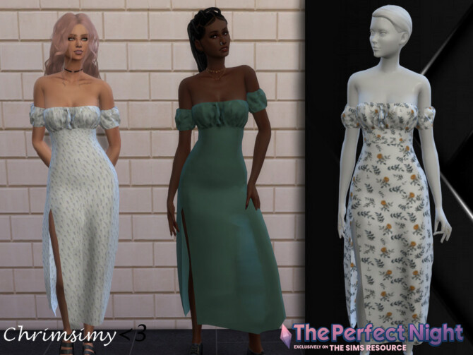 Sims 4 The Perfect Night Slit Dress by chrimsimy at TSR
