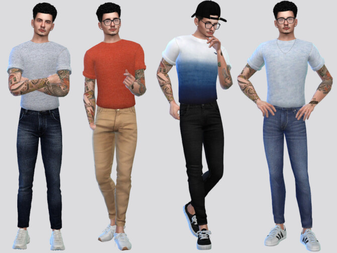 Sims 4 Tucked Basic Rolled Tees by McLayneSims at TSR