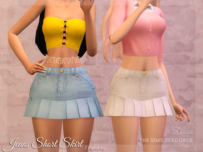 Sims 4 Jeans Short Skirt by Dissia at TSR