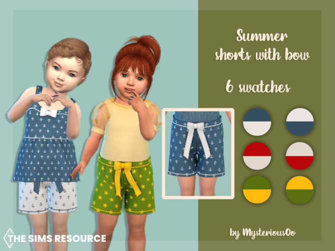 Sims 4 Summer shorts with bow by MysteriousOo at TSR
