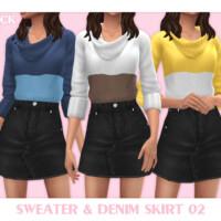 Sweater & Denim Skirt 02 By Black Lily