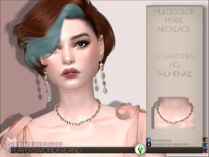 Sims 4 Multicolor Pearl Necklace by PlayersWonderland at TSR