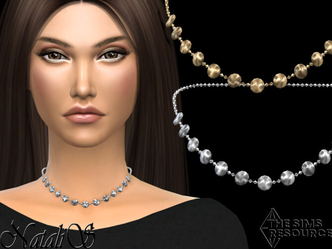 Sims 4 Mini disk chort chain necklace by NataliS at TSR