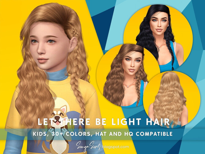 Sims 4 Let There be Light Hair for KIDS by SonyaSimsCC at TSR