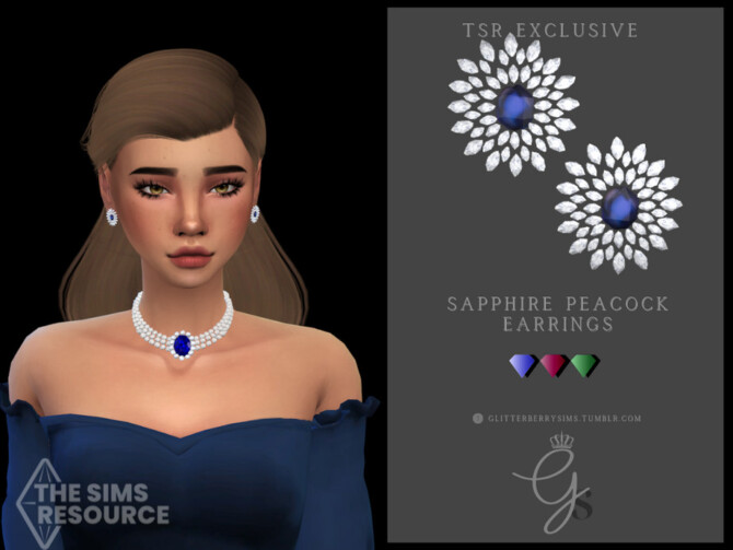 Sims 4 Sapphire Peacock Earrings by Glitterberryfly at TSR