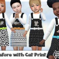 Cat Print Pinafore Dress By Pelineldis