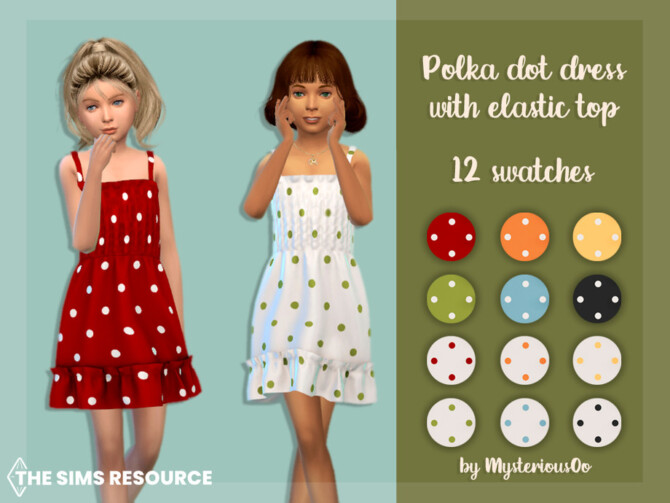 Sims 4 Polka dot dress with elastic top by MysteriousOo at TSR