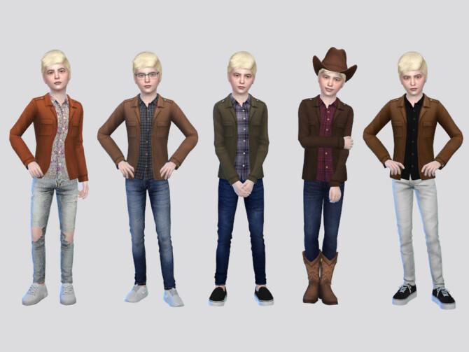 Sims 4 Santiago Shirt Jacket Boys by McLayneSims at TSR