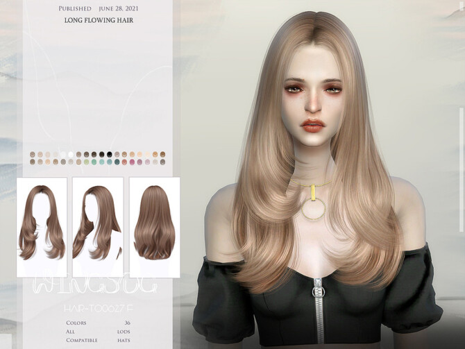 Sims 4 WINGS TO0626 Long flowing hair at TSR